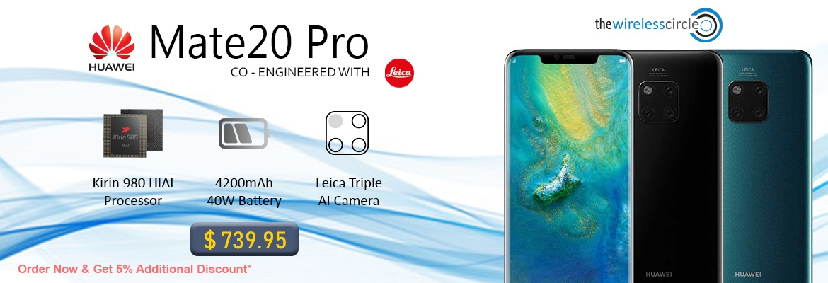 Buy Huawei Mate 20 Pro @ 739.95 extra 5% off on every purchase